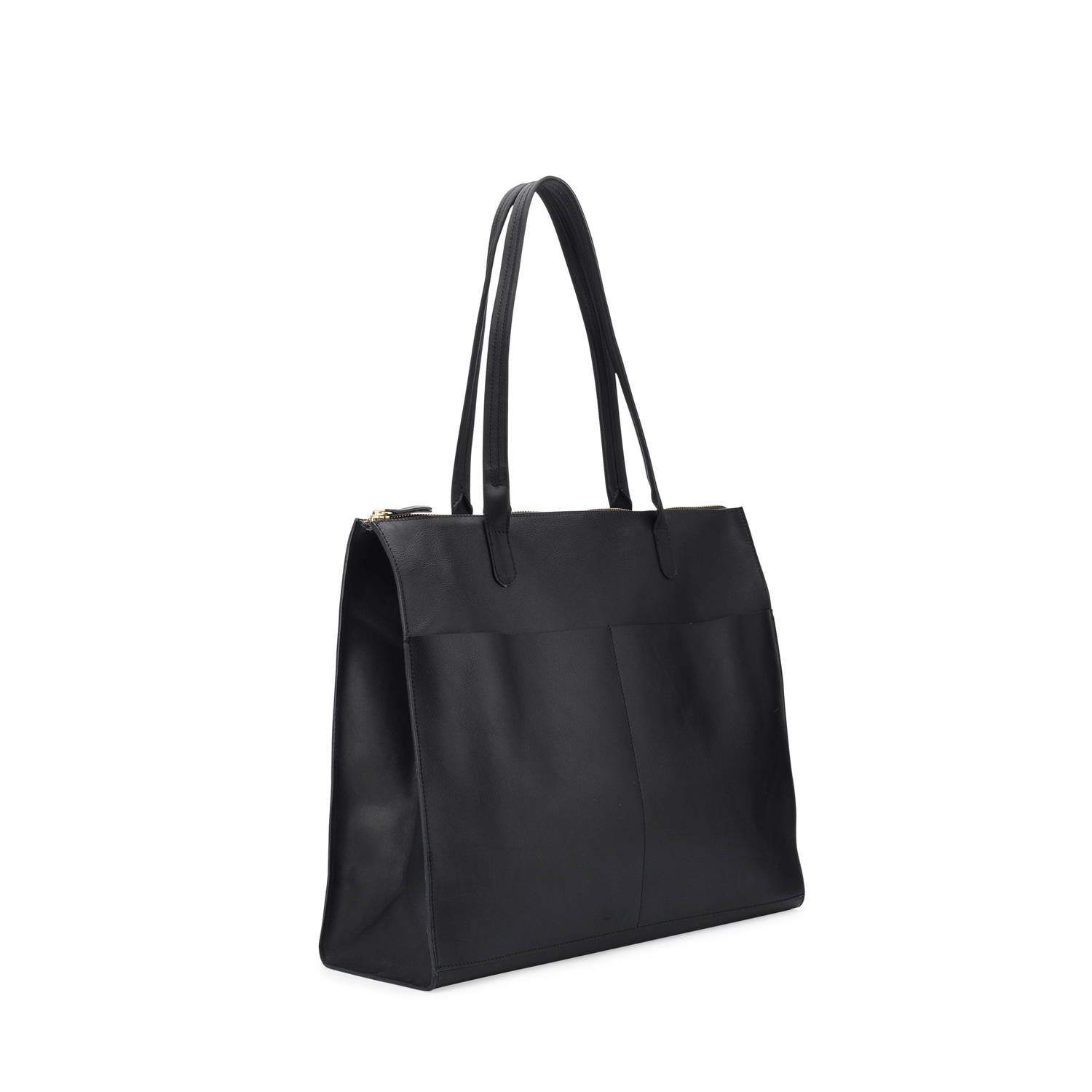 Everything zip top tote in black leather