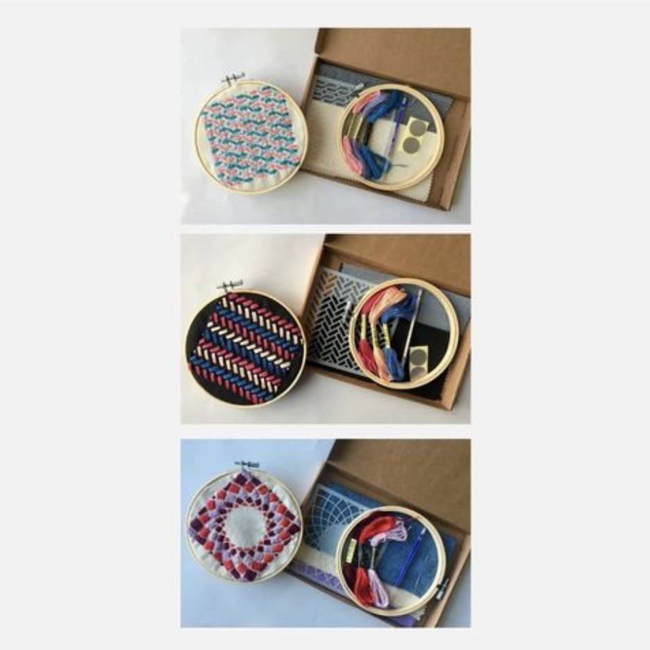Three embroidery sets showing contents and finished product in embroidery hoop