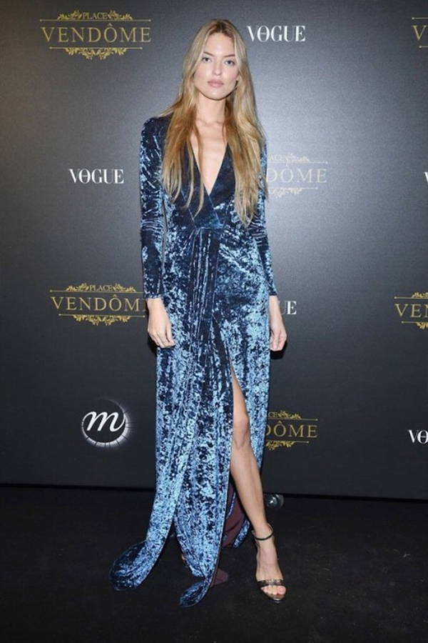 Martha Hunt wears Galvan London Light Blue Velvet V neck Wrap Dress