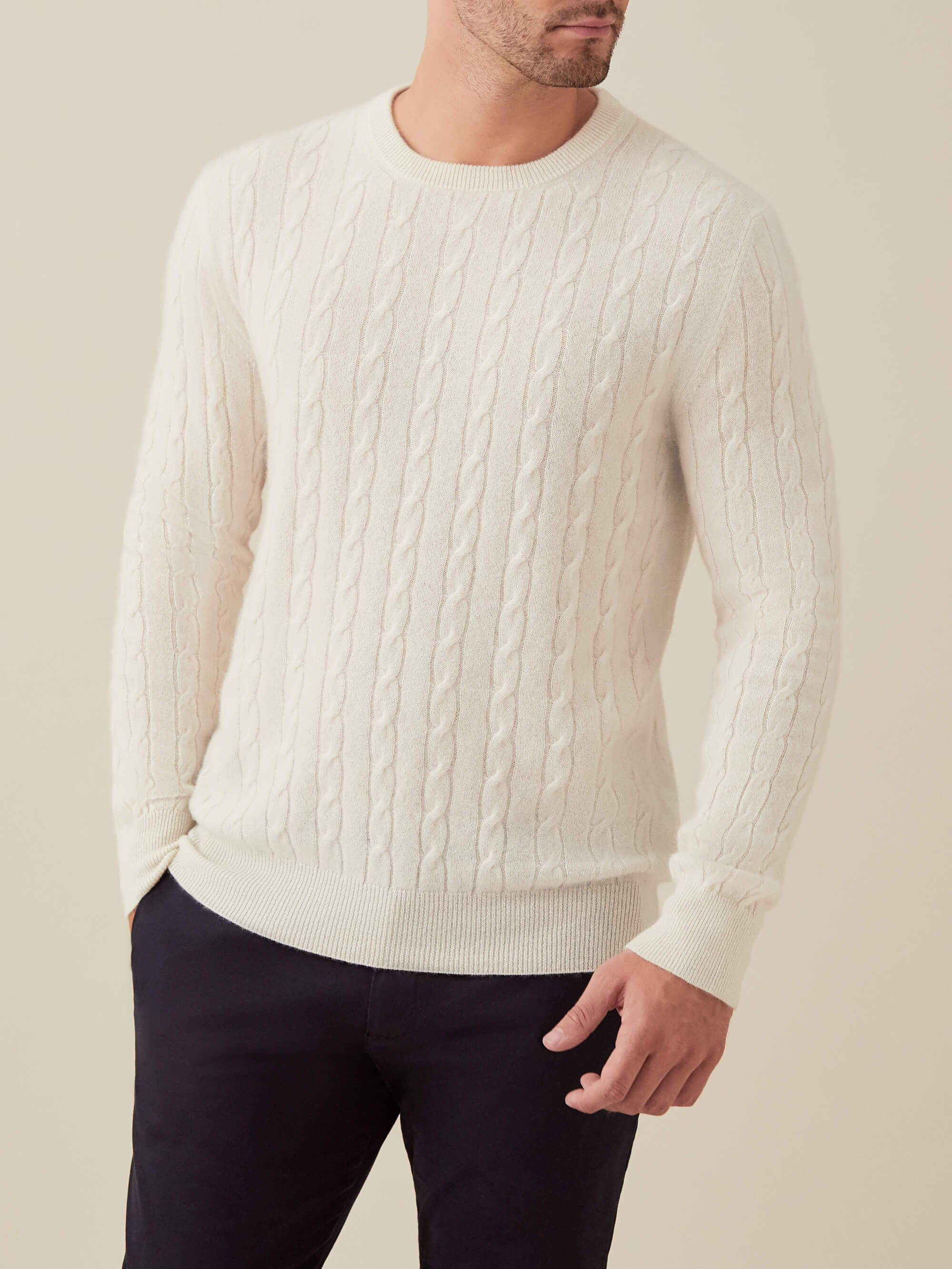 Luca Faloni White Pure Cashmere Cable Knit Made in Italy