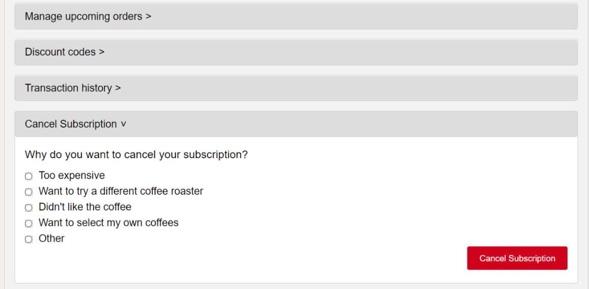 Cancel subscription settings