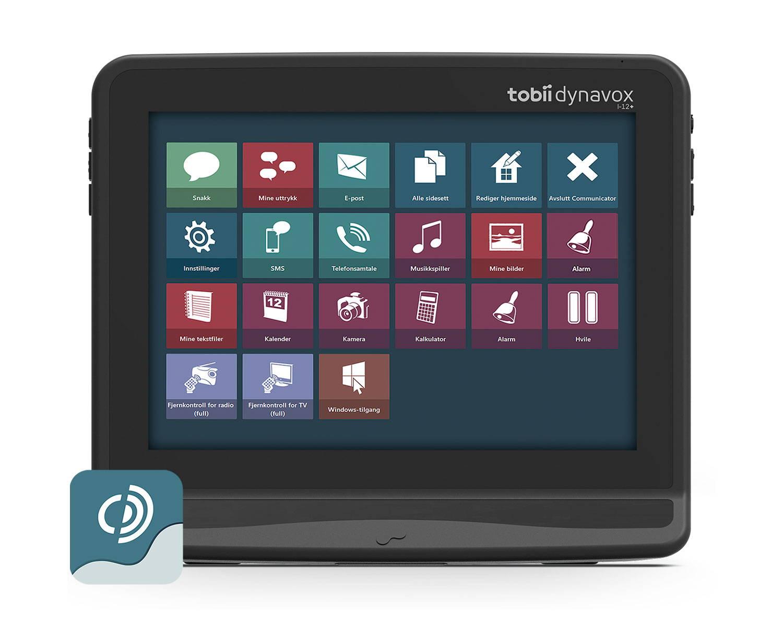 Tobii Dynavox I-12+ kommunikasjonsenhet med den symbolbaserte ASK-appen Communicator