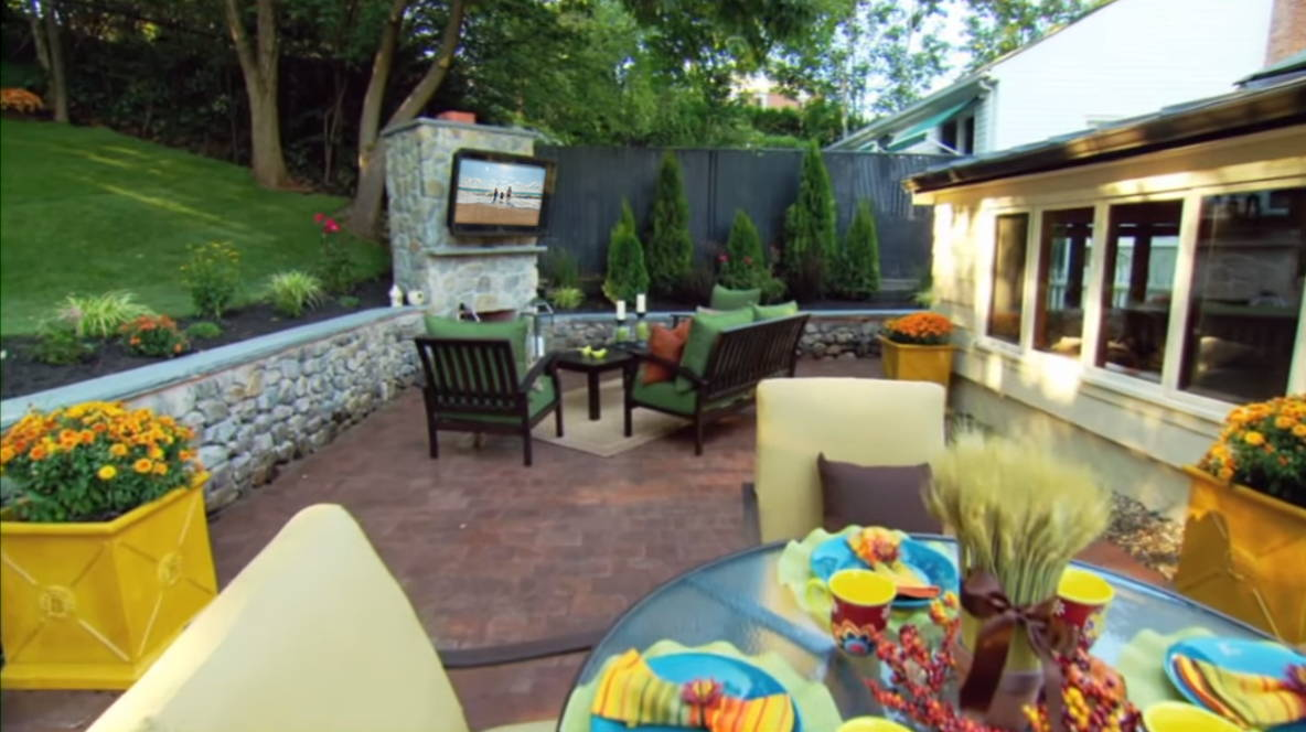 TV Enclosure/Cabinet set up in an outdoor entertainment area