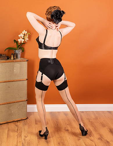 Cuban Heel Seamed Stockings | Contrast Black Nude