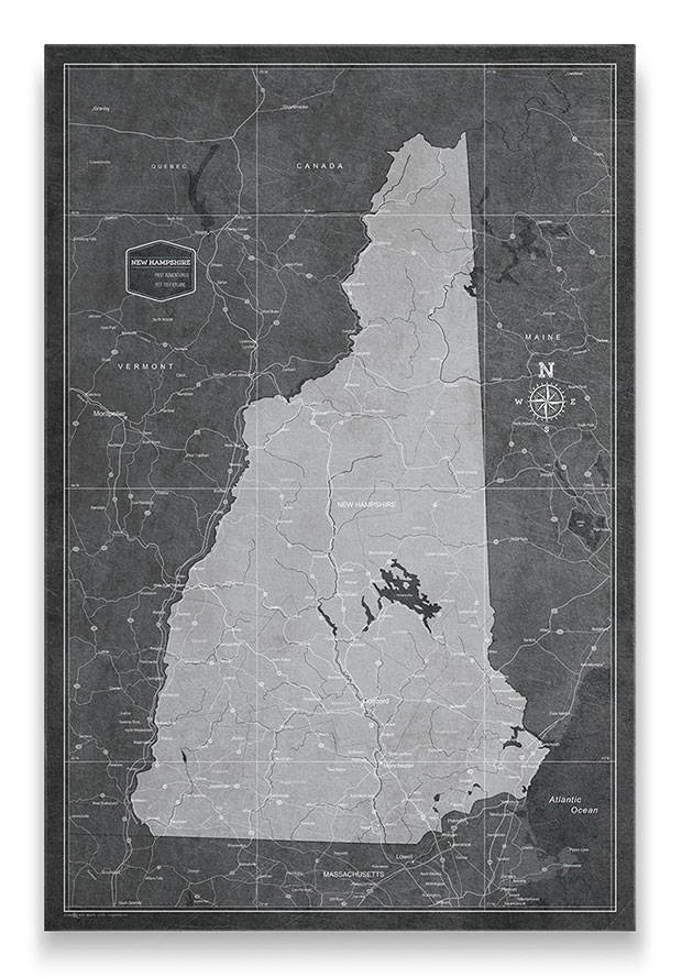 New Hampshire Push pin travel map modern slate