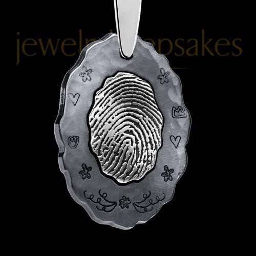 Black Plated Fingerprint Pendant
