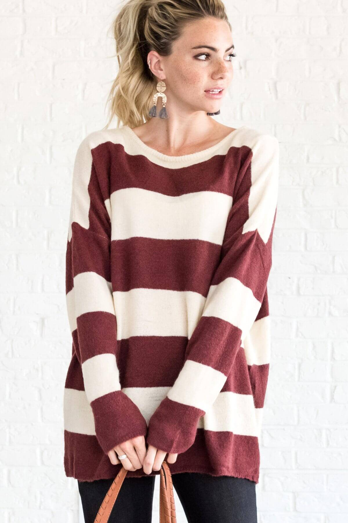 Burgundy Red Cream Striped Pullover Sweaters Boutique
