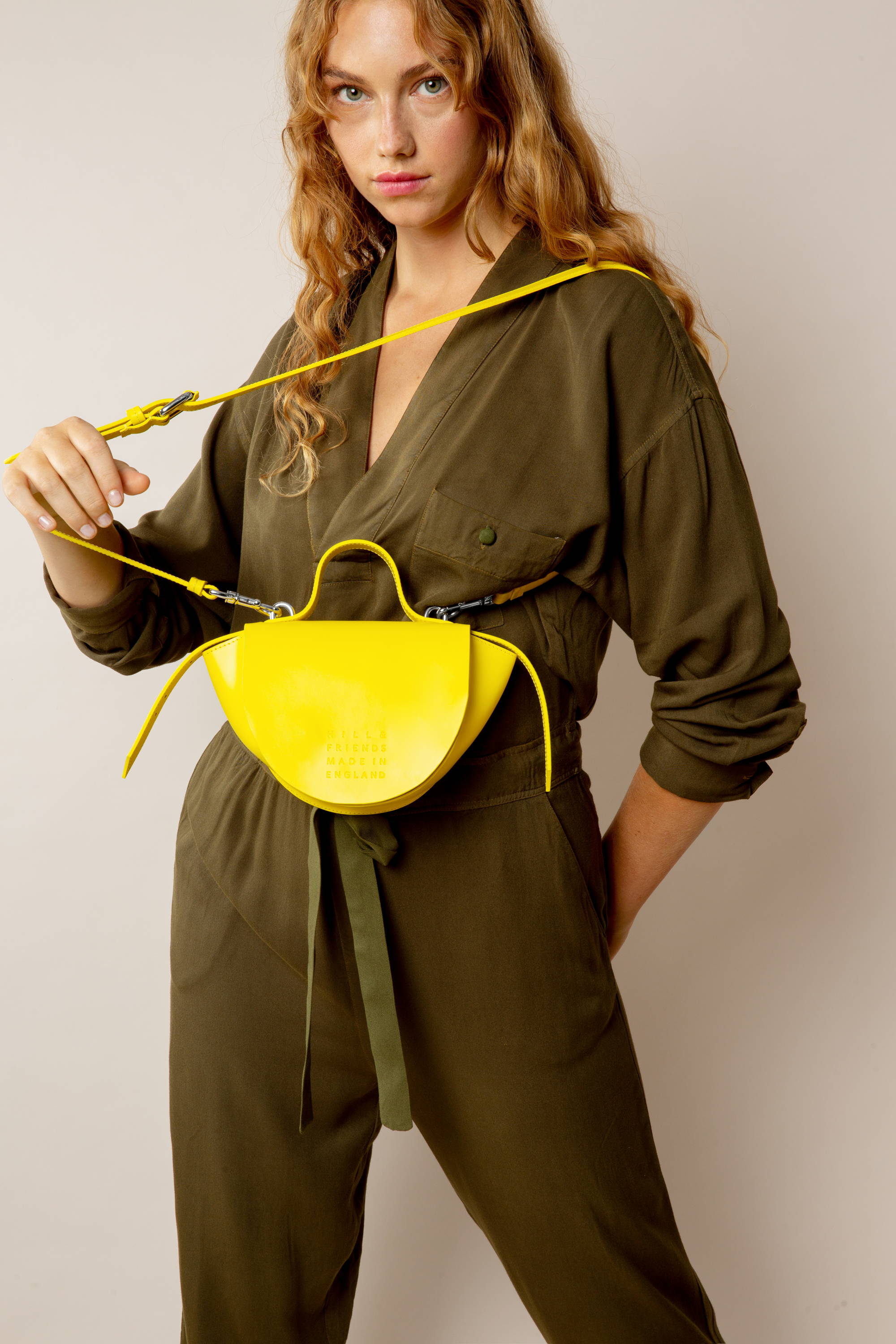 Hill and Friends Mini Belle Half Moon Bag in Yellow