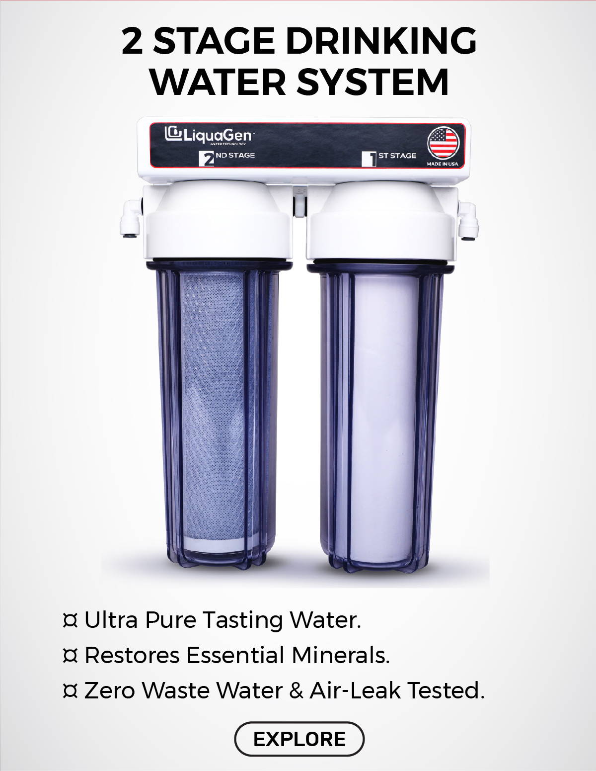 LiquaGen - 2 Stage Drinking Water Filter System
