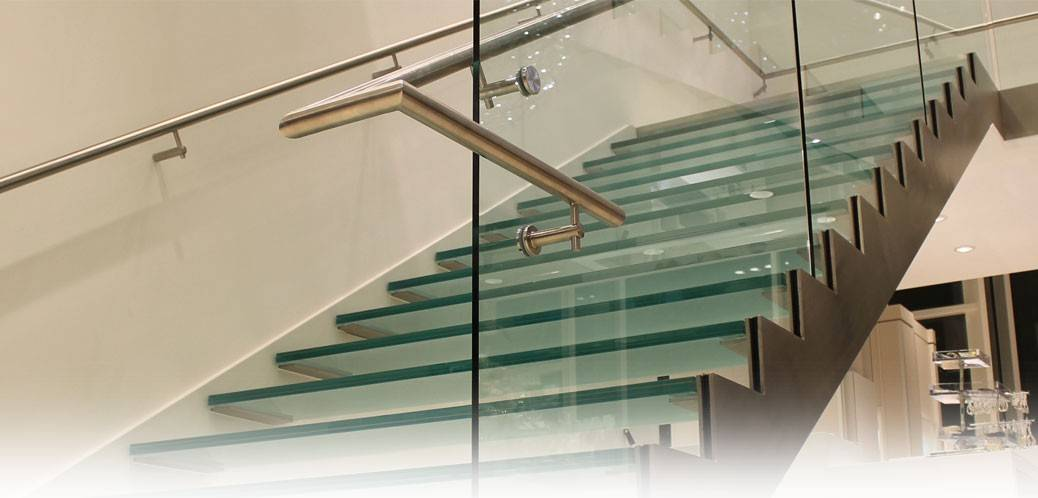 Glass railings and glass stairwells
