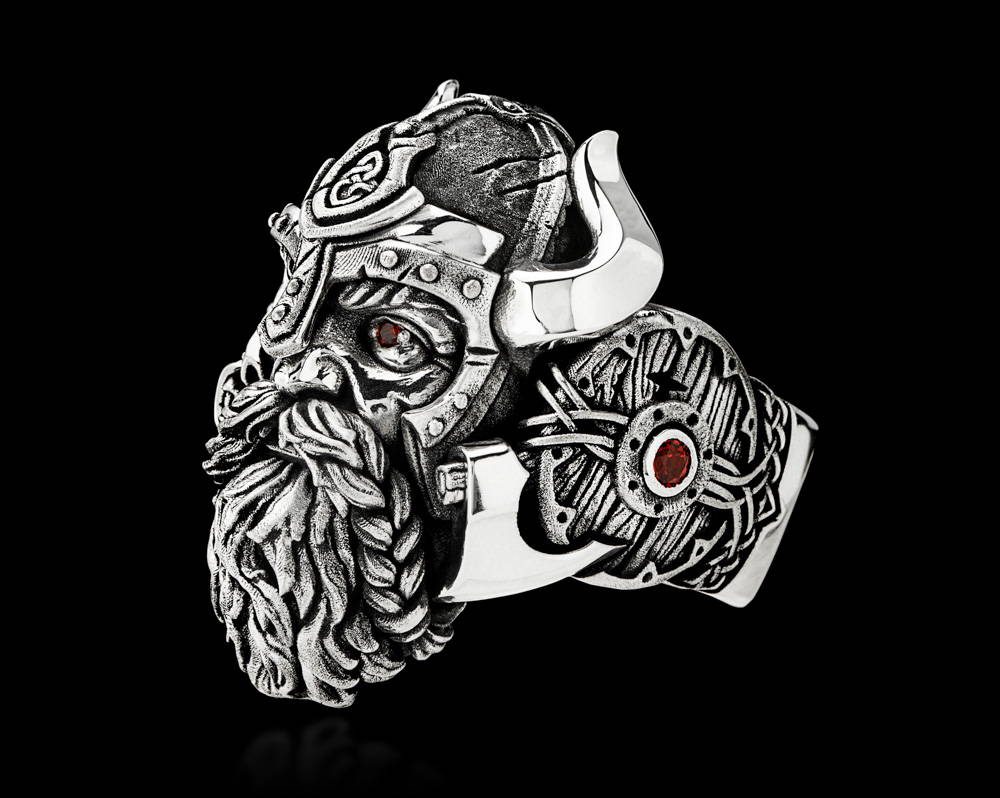 Einherjar Viking Warrior Silver Ring with Red Garnet Stones