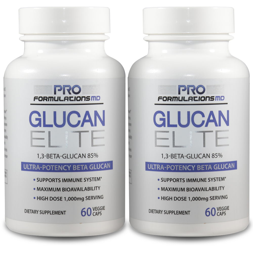 2 bottles of Glucan Elite side by side