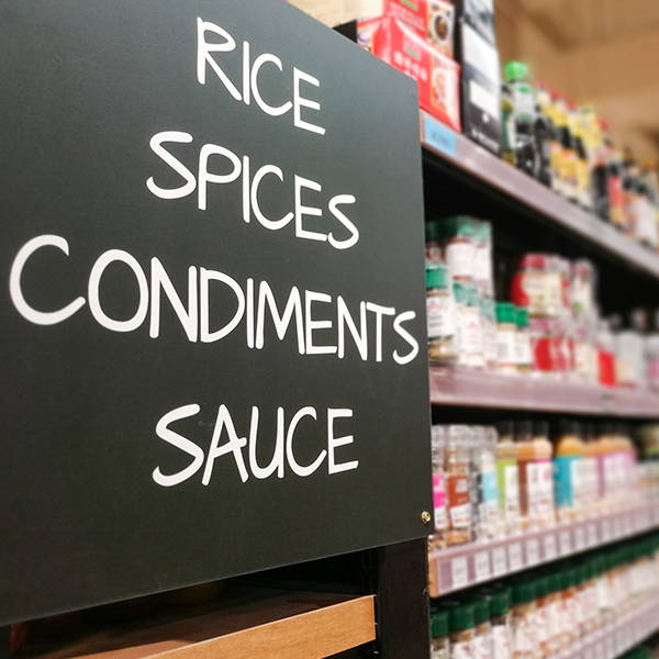 High Quality Organics Express grocery store rice spices condiments and sauce