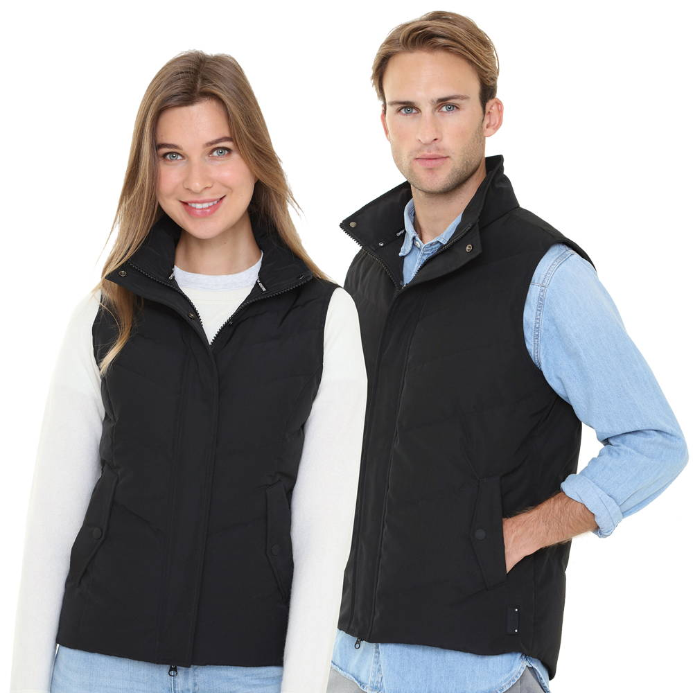 42b80128212 The elegant Heated Vest is designed with a waterproof fabric and filled  with white down. With heated hand pockets and a large upper back heater