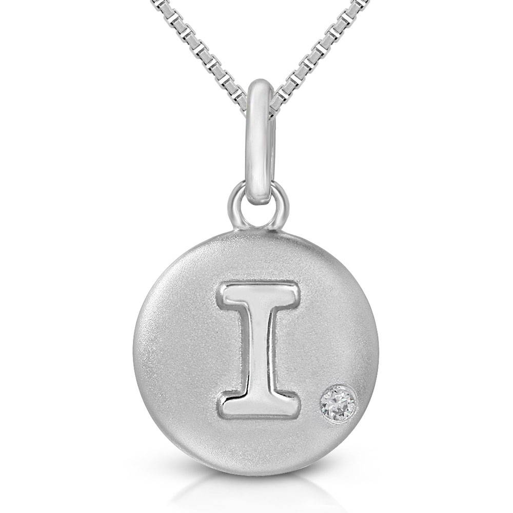 Pure at Birth letter I pendant with greek box necklace