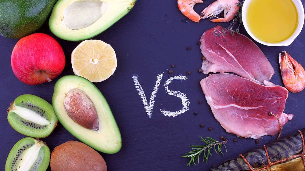 Delicious food composition of meat, seafood product with oil opposite vegetables and fruit | Vegan Collagen Builder Vs Animal-Based Collagen Supplements: Which Is Best For You? | is collagen vegan | Featured