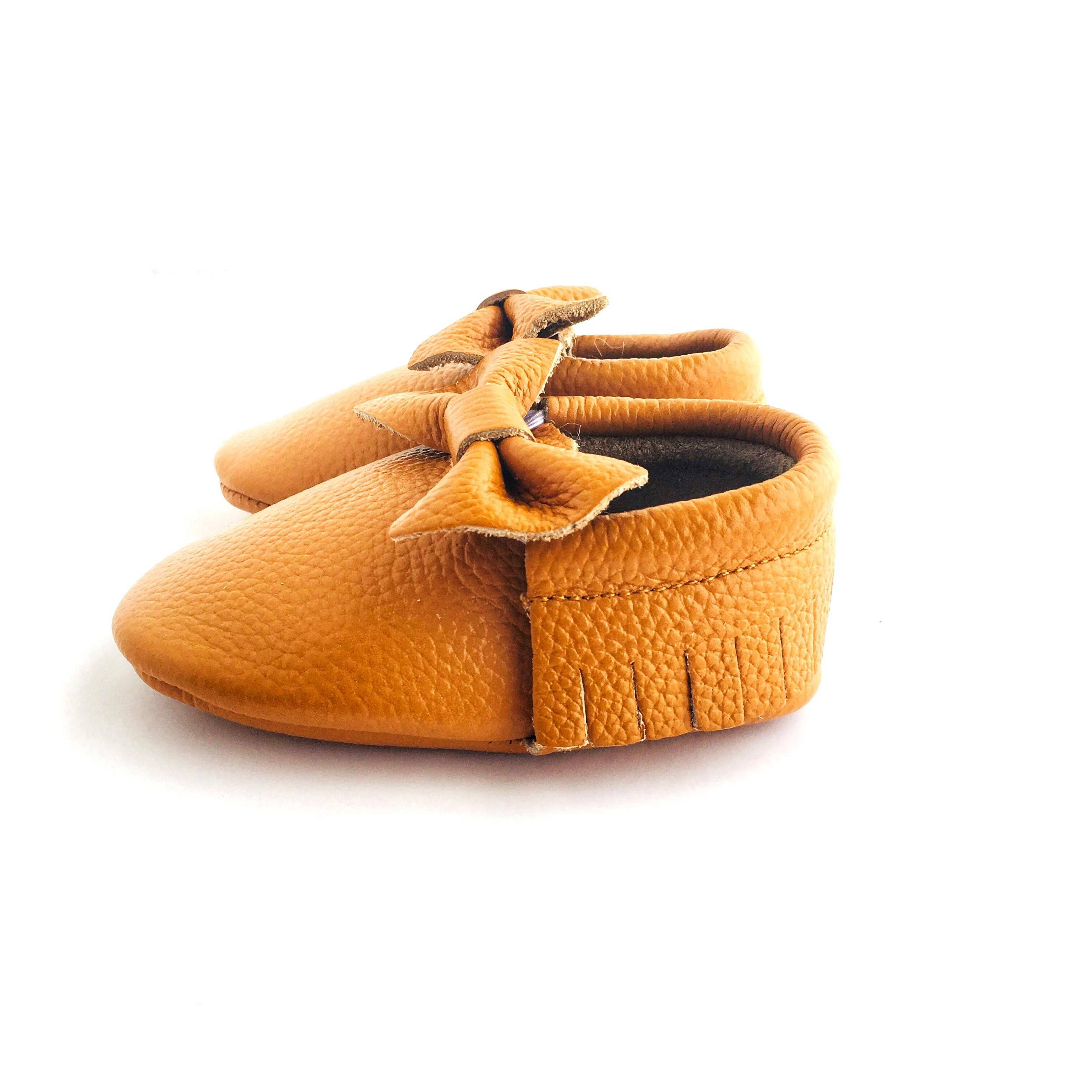 Bow Baby Soft Sole Shoe Caramel Colour side view