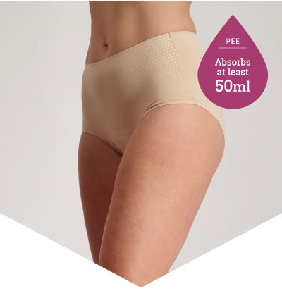 Pee Panties for Light to Moderate Bladder Leakage - Full Brief Extra Beige - Just'nCase by Confitex