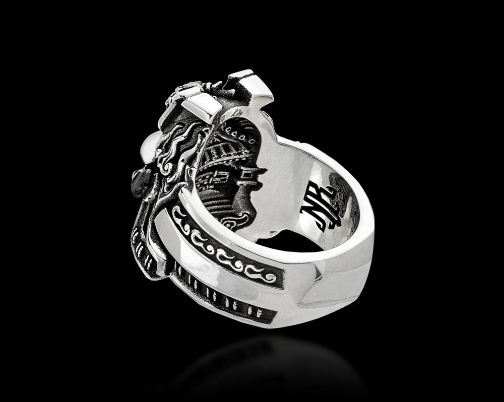 Triquarter View of the Bushido Samurai Warrior Ring by NightRider Jewelry