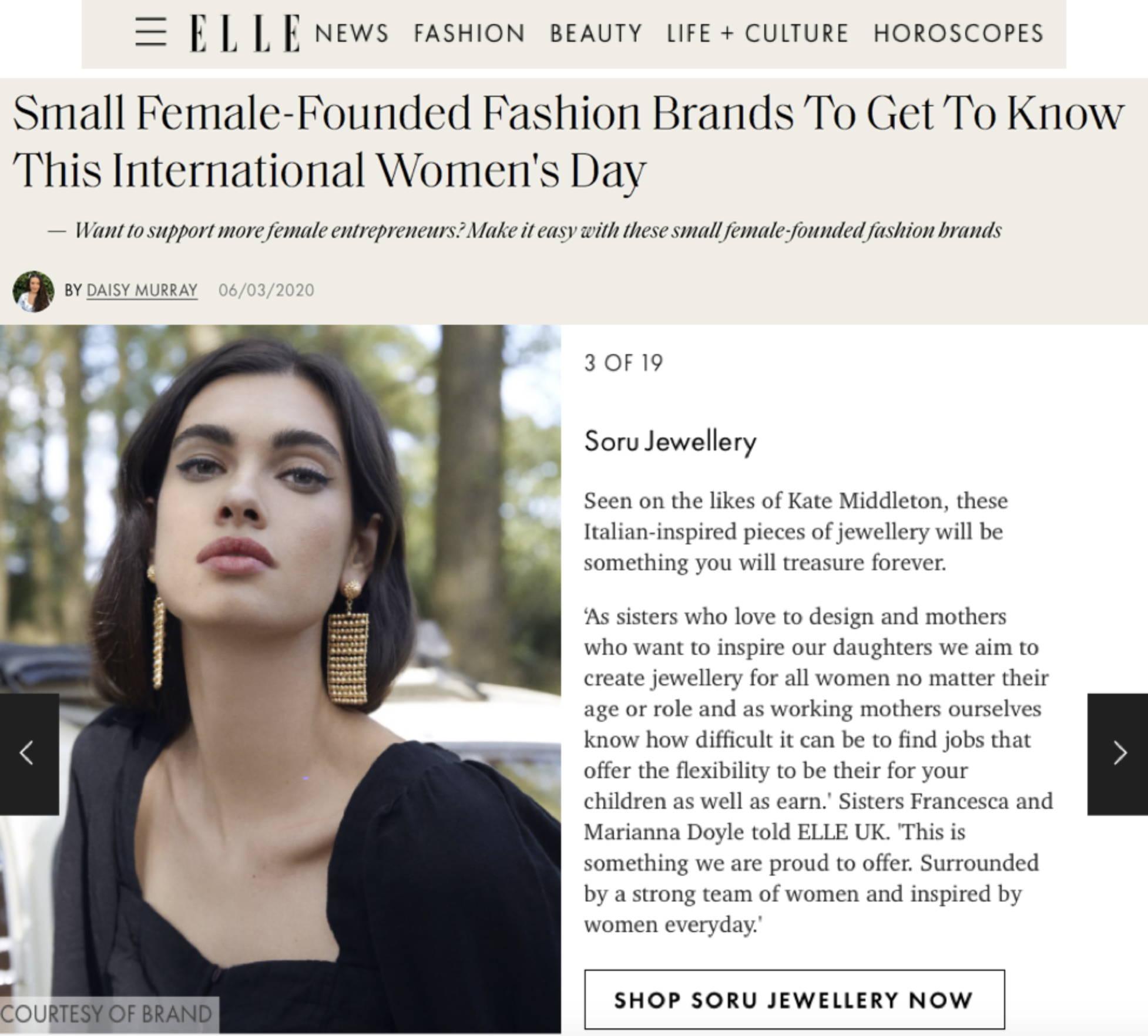 SORU JEWELLERY WOMENS INTERNATIONAL DAY BRAND