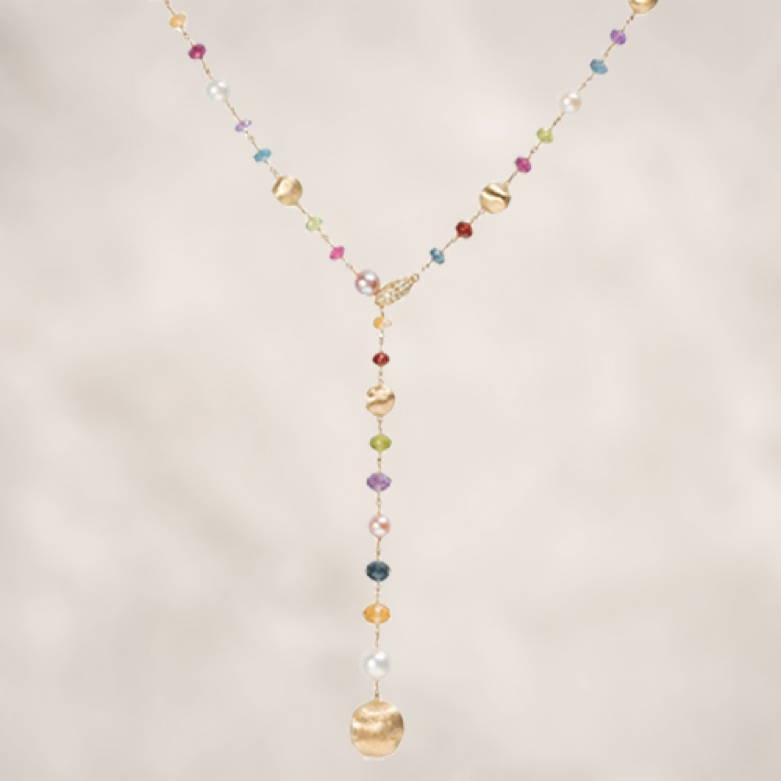 African Gemstone and Pearl Lariat
