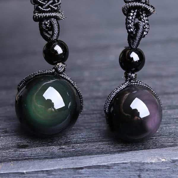 Two Obsidian Stone Bead Pendants