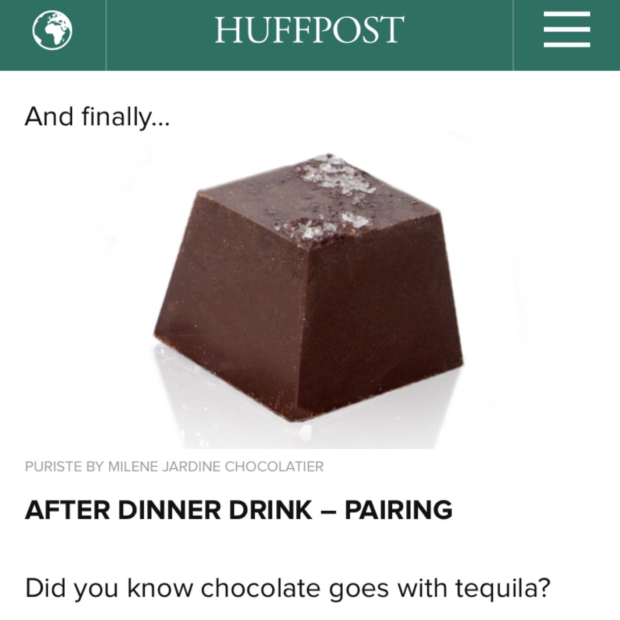 Milène Jardine Chocolatier featured in Huffington Post Valentine's Day 2017 Guide, highlighting exclusive  chocolate and tequila pairing with Blue Hour Tequila.