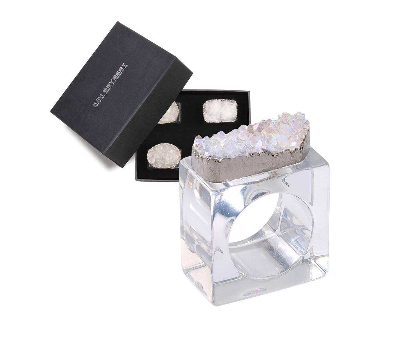 Rock Crystal Napkin Ring Set