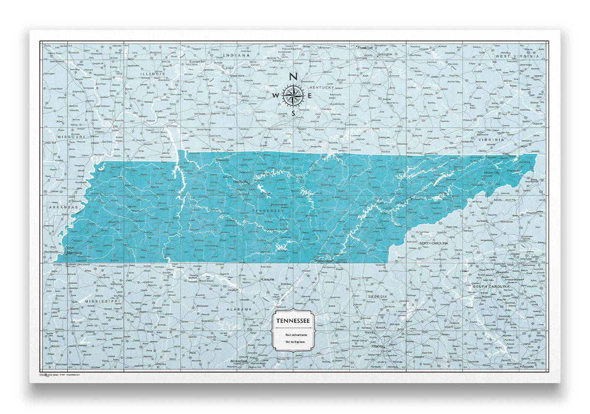 Tennessee Push pin travel map color splash