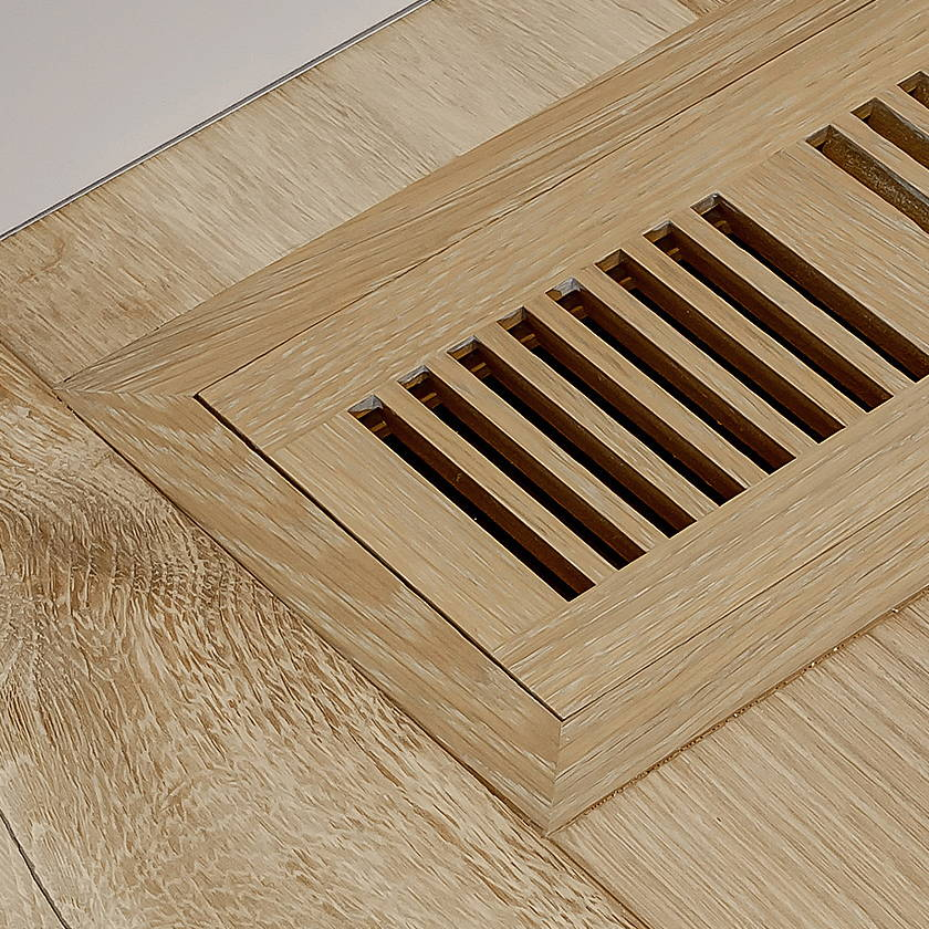 Louis XIV french white oak hardwood with matching flush mount vent