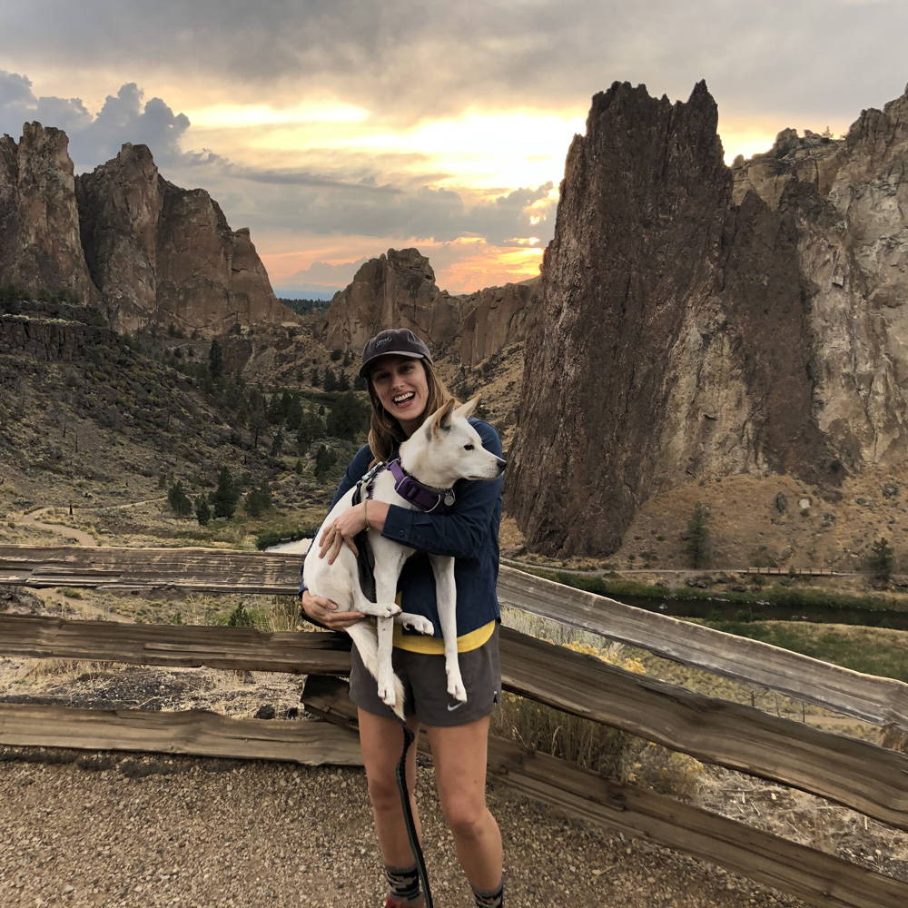 Kristen Petsche and her dog at Smith Rock Rumpl