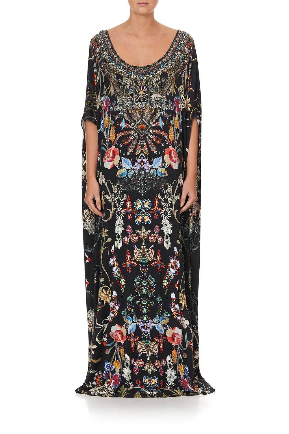 CAMILLA BLACK ROUND NECK KAFTAN WITH COLOURFUL DETAILING