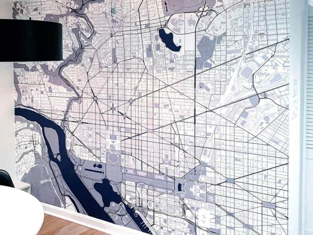 City Map Art Wallpaper for Hotel Room