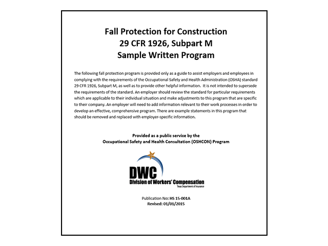 Free Fall Protection Plan for General Construction
