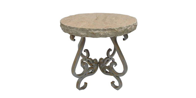 Hand chiseled cream travertine entryway table with wrought iron base model number 1240 BB