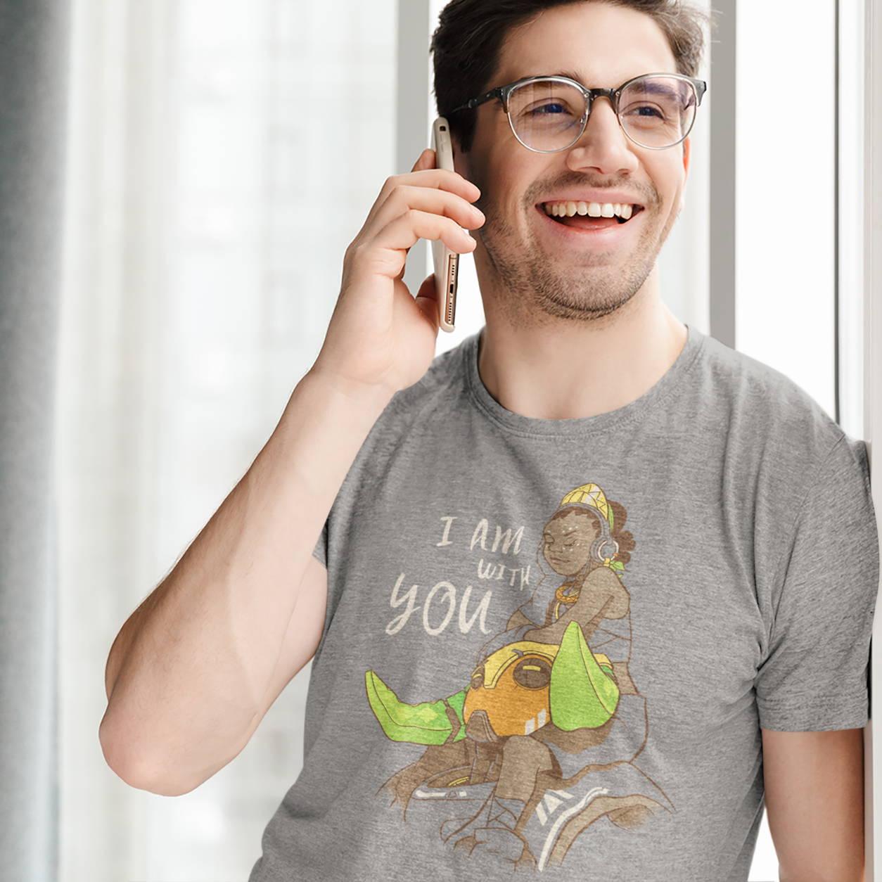 Male model wearing an Overwatch shirt