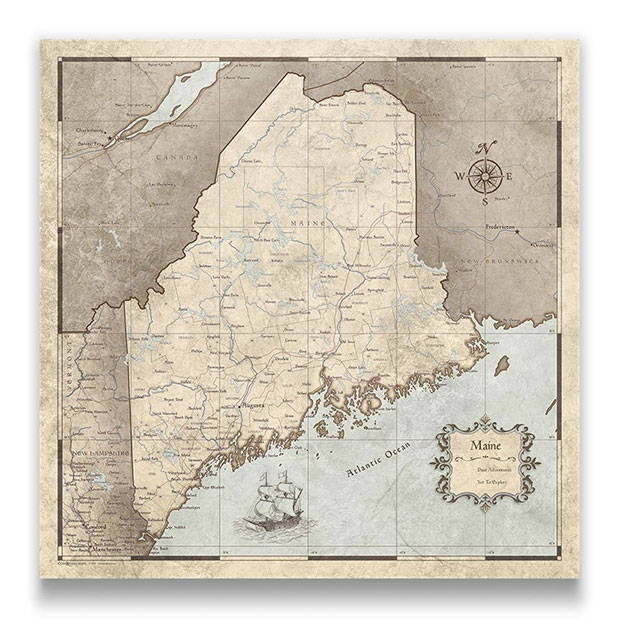 Maine Push pin travel map rustic vintage