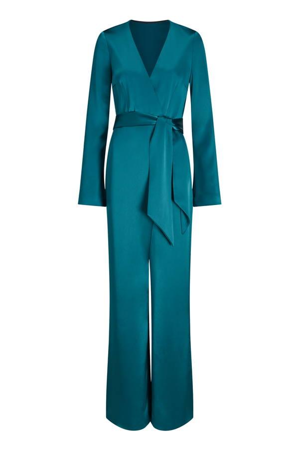 Galvan London Long Sleeves Satin Blue Wrap Jumpsuit