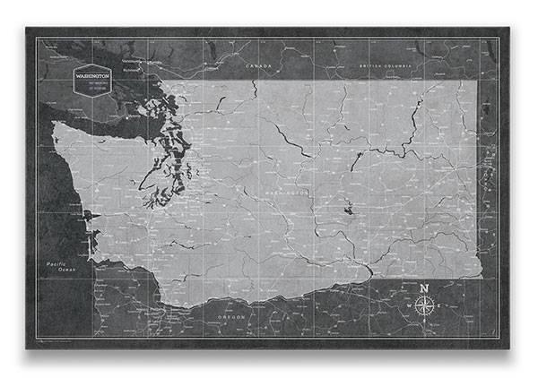 Washington Push pin travel map Modern slate