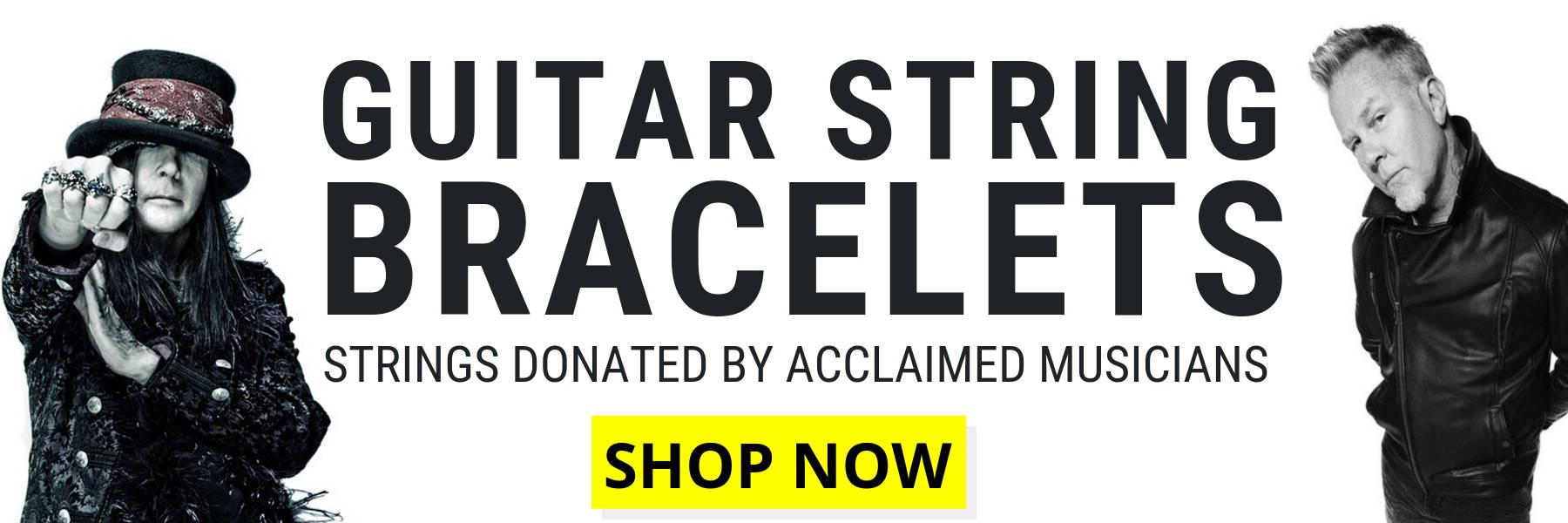 Wear Your Music guitar string bracelets Mick Mars, James Hetfield