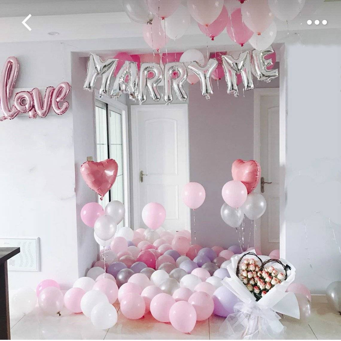 Marriage Proposal Decorations Balloons | Valentine's day Silver Marry Me Balloon Set | Proposal banner sign | Marriage Proposal Ideas