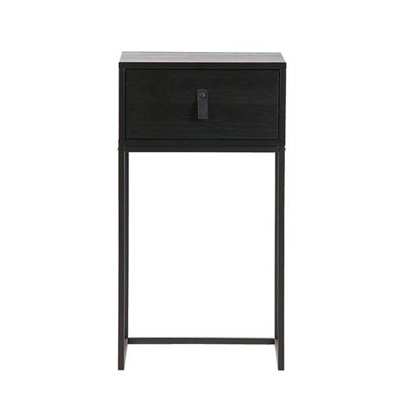 Black small bedside nightstand