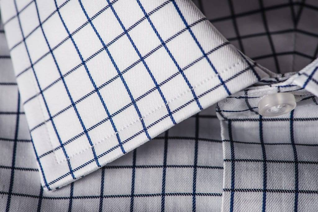 Classic mens bespoke even check shirt in white, navy and black