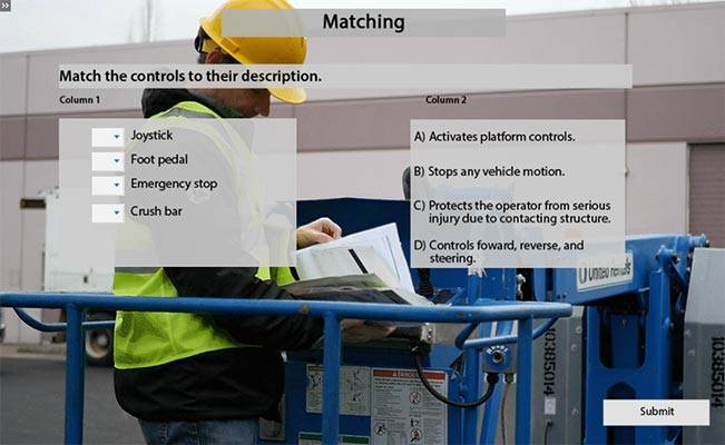 Aerial Lift E-Learning Training Matching Question