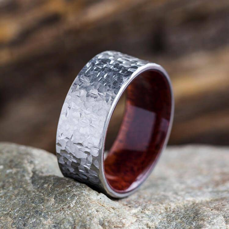 Hammered Finish Titanium Ring, Wedding Band with Wood Sleeve