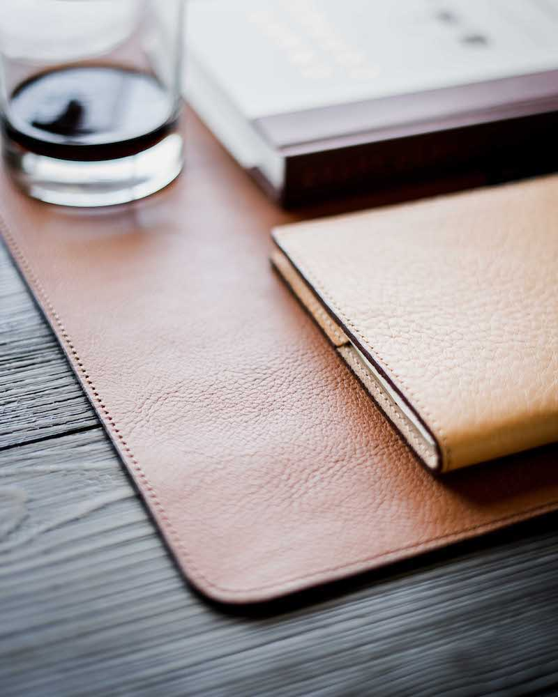 vegetable tanned brown leather table mat