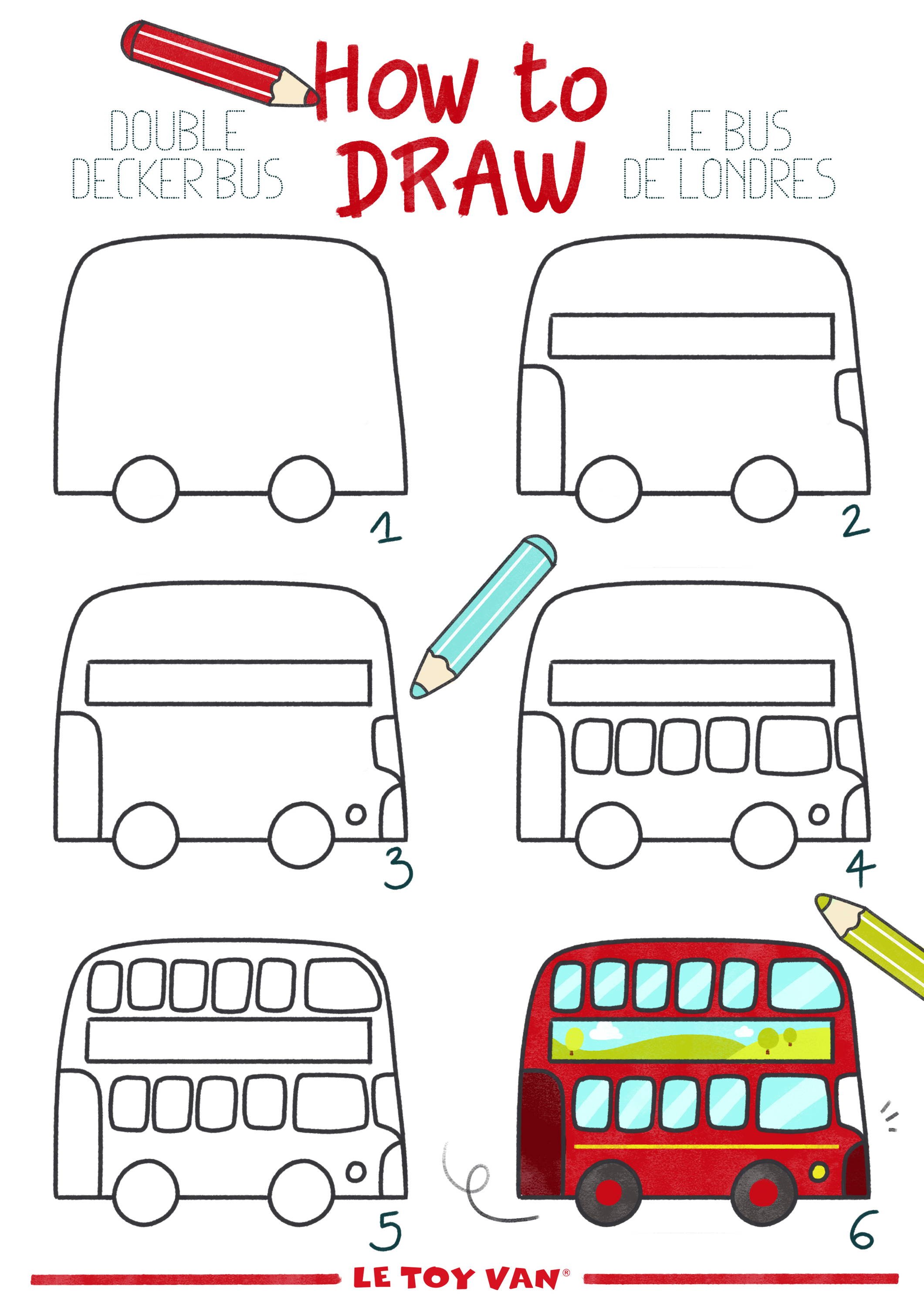 how to draw a double decker bus