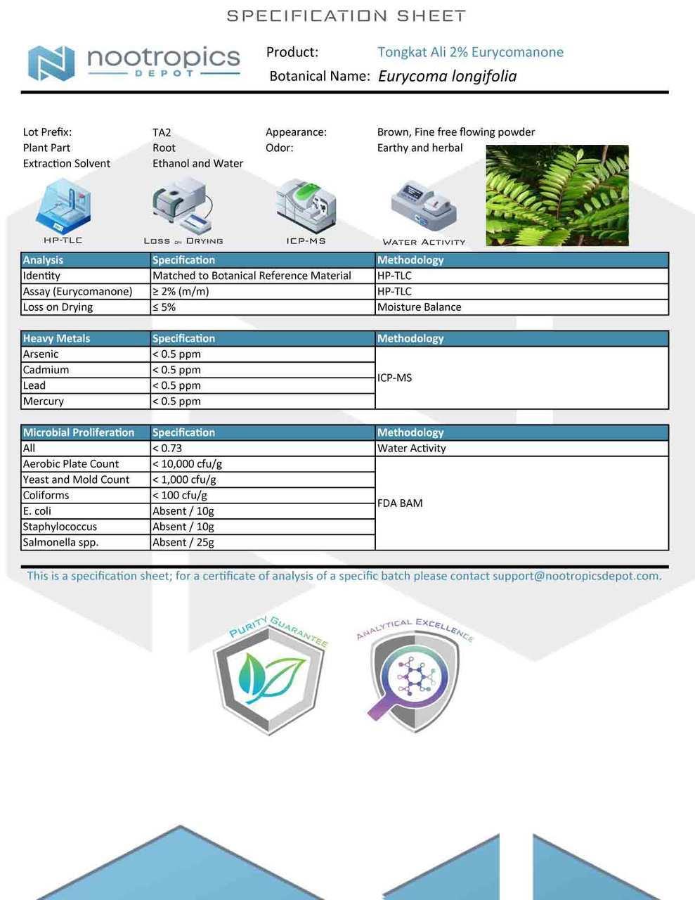 Tongkat Ali 2% Extract Spec Sheet