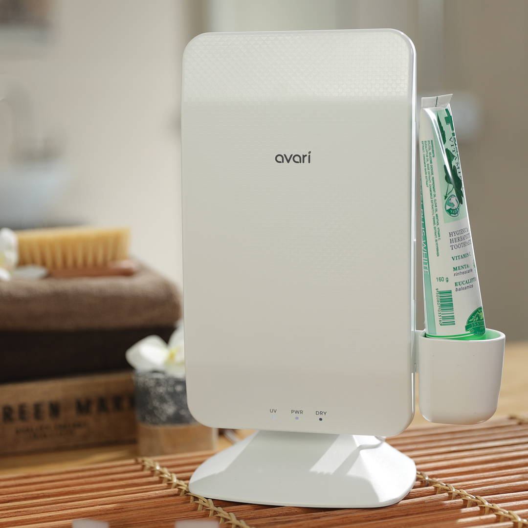 Avari Toothbrush Sterilizer is an elegant solution to help keep your toothbrush and your families toothbrush free from bacteria