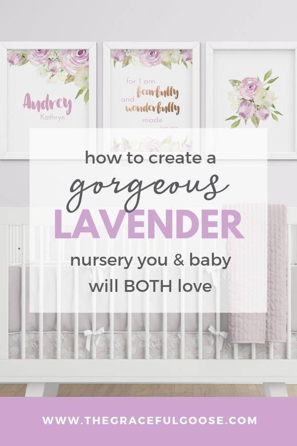 Idea board for a lavender floral nursery for a baby girl
